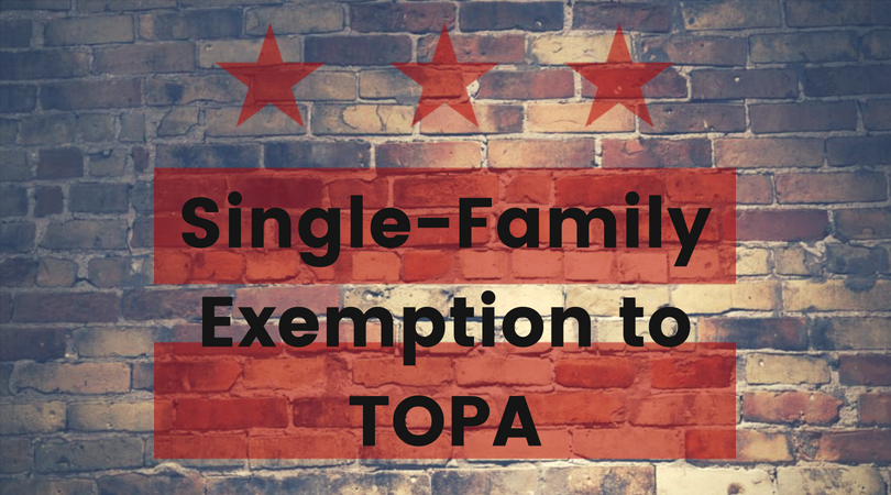 Single Family Home TOPA Exemption